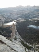 Rock Climbing Photo: View from the descent including smoldering fire, m...