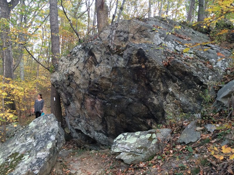 The 340 boulder has some overhanging terrain with a good landing. It's right on (literally) the Appalachian trail.