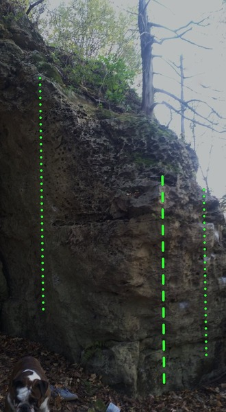 Rock Climbing Photo: Penis Envy (V1) on the left, Kickin It (V1) climbs...