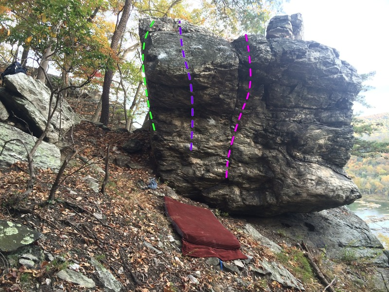 Civilized Floater (green), Two Tacos for Tina (purple), Blubber Shuffle (pink). <br> The Floater Boulder in the Highlands on Elk Ridge