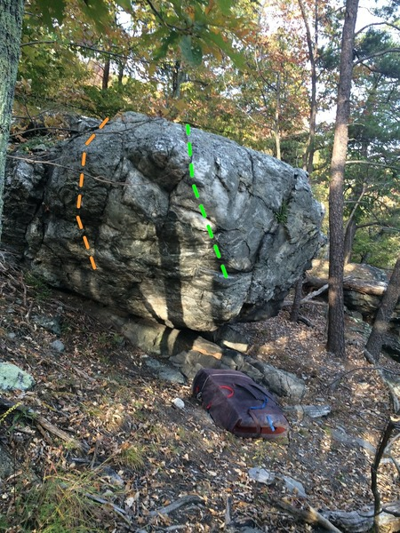 Another angle on the Starlight Boulder. The arete in the foreground (green) is Big Dog, and the orange line is approximately the line for Hydra.