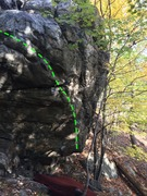 Rock Climbing Photo: Stinger Arete (green) on the Sugar Boulder