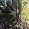 Stinger Arete (green) on the Sugar Boulder
