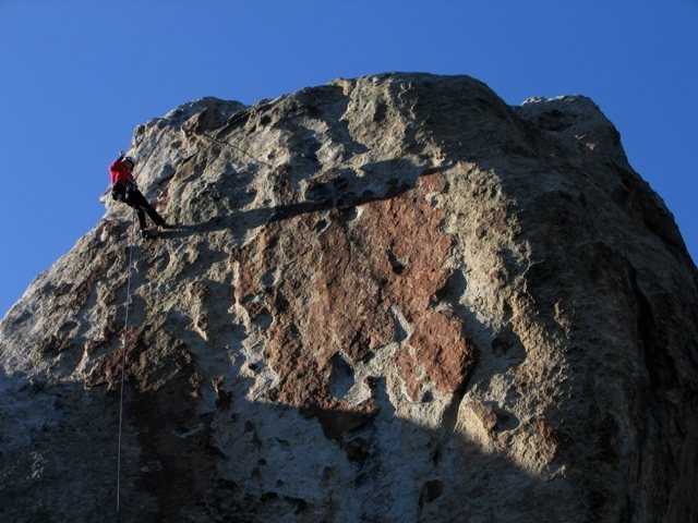 Rock Climbing Photo: Coming off the anchor for True Grit