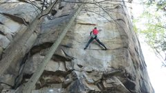 Rock Climbing Photo: long deadpoint move after the crux