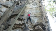 Rock Climbing Photo: hitting the side pull at the crux