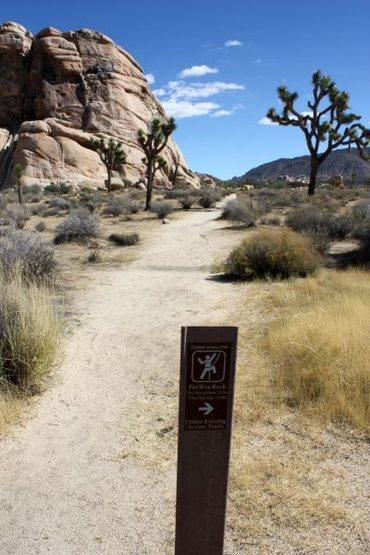 Trail sign for Peewee Rock, Joshua Tree NP