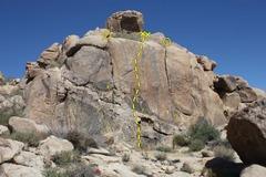 Rock Climbing Photo: Main Gate Rock (Left Crag), Joshua Tree NP  1. Lef...