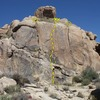 Main Gate Rock (Left Crag), Joshua Tree NP<br> <br> 1. Left Swain Crack (5.3) <br> 2. Liquid Edge (5.10b)<br> 3. Right Swain Crack (5.10c)