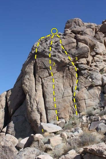 Main Gate Rock (Right Crag), Joshua Tree NP<br> <br> 1. Gin and Susan (5.8)<br> 2. Hungover Sunday (5.9+)<br> 3. Hung-up on Susan (5.6)