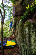 Rock Climbing Photo: Dobbe goes big.