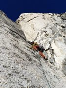 Rock Climbing Photo: Jay Schenk leading the sustained P2 slab of God's ...