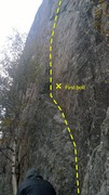 Rock Climbing Photo: Lower portion of the route (sorry, best pic I coul...