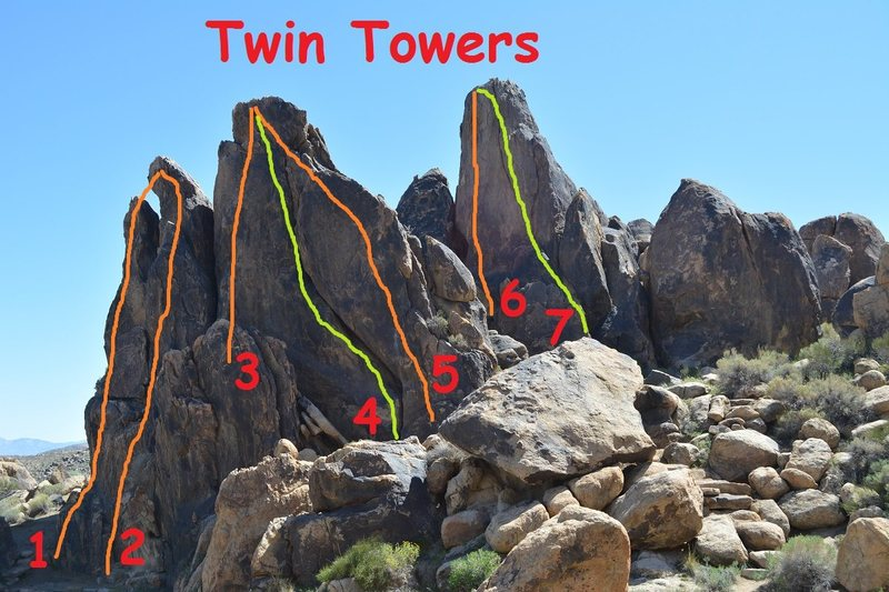 Left to Right the routes are:<br> <br> 1. 7*<br> 2. 10a*<br> 3. 9<br> 4. 9<br> 5. 8**<br> 6. 9* <br> 7. 6