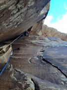 Rock Climbing Photo: The last splitter pitch.