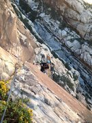 Rock Climbing Photo: Keith finishing up the long fifth pitch.
