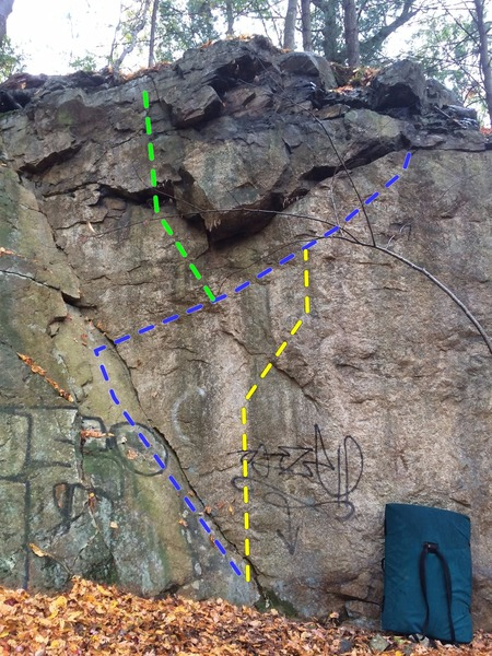 Highway Cliff - Dihedral Exit Right in blue, Direct Face in yellow