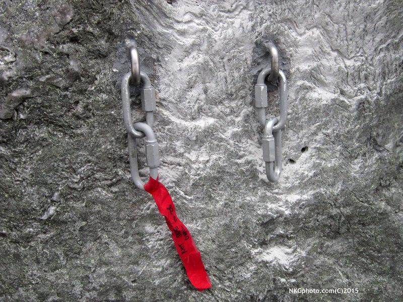 Rock Climbing Photo: new anchor on The Monkey 10-25-15