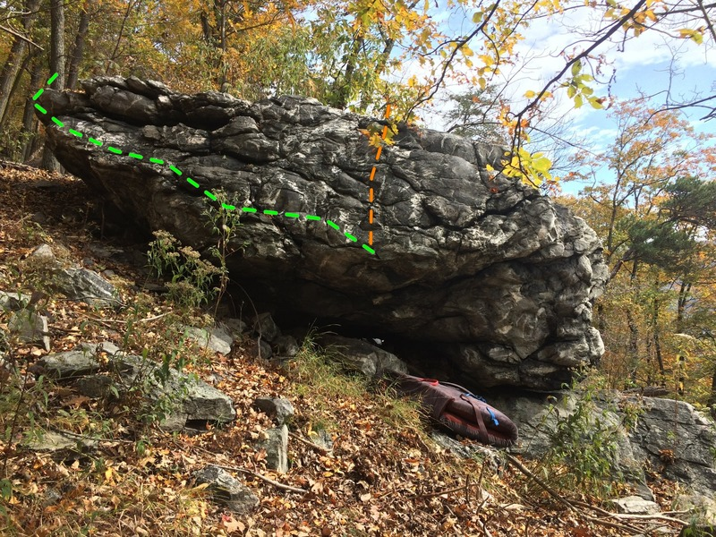 Rock Climbing Photo: West side of the boulder where Snake Belly and Sna...