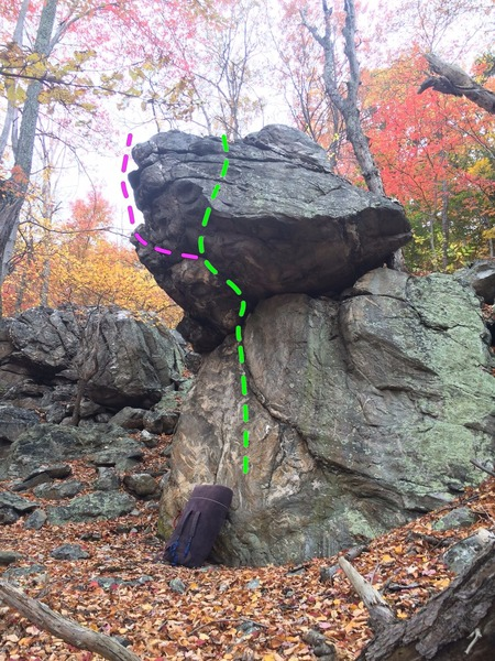 The Throne boulder with the Iron Pickle (green) dead ahead. The pink line is another moderate project with some height to deal with.