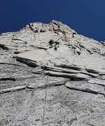 Rock Climbing Photo: At the anchors of first pitch Cathedral Peak, Tuol...