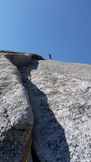 Rock Climbing Photo: At the anchors of pitch 1 on West Country, Tuolumn...