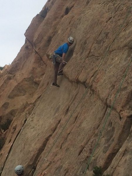 "Rock Climbing Photo: Pulling the lower crux on ""Proud Mary."""