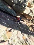 Rock Climbing Photo: The crux for me. Thin traverse left on p1 to easie...