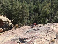 Rock Climbing Photo: Easiest way to finish p1 is further left of the tr...