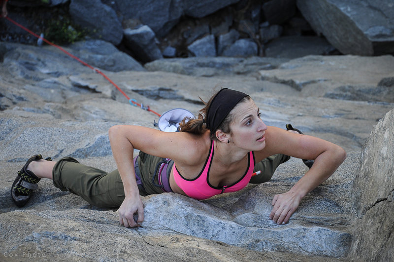 Vanessa on a good route left of Whammy.  Don't remember the name, probably 11b or so.<br> <br> Photo: Steve Cox