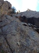 """Rock Climbing Photo: Lew about to start the """"awful-width""""."""