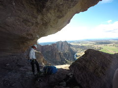 Rock Climbing Photo: Kristi at the belay anchors for the first part of ...