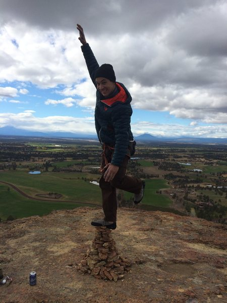 I repaired the cairn and went for a slightly higher ascent at the top of the monkey. Photo by Kristi.