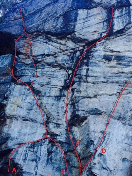 Was curious of what the consensus was on these mixed/dry-tool routes at Moffatt. This is the climber's leftmost wall.