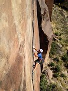 Rock Climbing Photo: John Groth on the 1st crux! .... looking a little ...