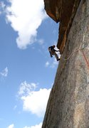 Rock Climbing Photo: Me on the 4th pitch traverse under the roof.