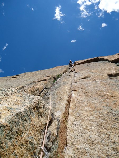 Pitch 7: The final pitch of the unrelenting first half of this astounding climb.
