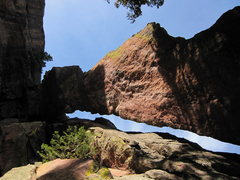 Rock Climbing Photo: Looking up at the arch which you climb over.  You ...