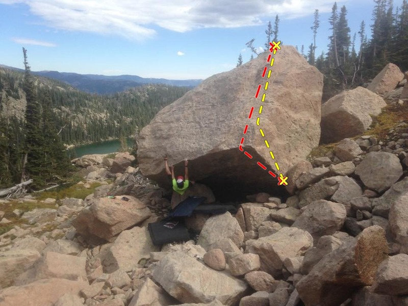 Rock Climbing Photo: Red: The Outlier (crimp/dyno variation). Yellow: T...