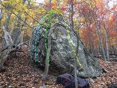 Rock Climbing Photo: Green & White boulder Lines are approximate (been ...