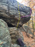 Rock Climbing Photo: The Throne boulder. The Lone Ranger in yellow. An ...