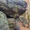 The Throne boulder. The Lone Ranger in yellow. An airy project is shown in pink. It's easy but high.