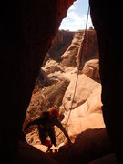 Rock Climbing Photo: Climbing into the pitch 3 chimney.