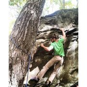 Rock Climbing Photo: Andrew Cassidy topping out Mycotic Break (V9). The...