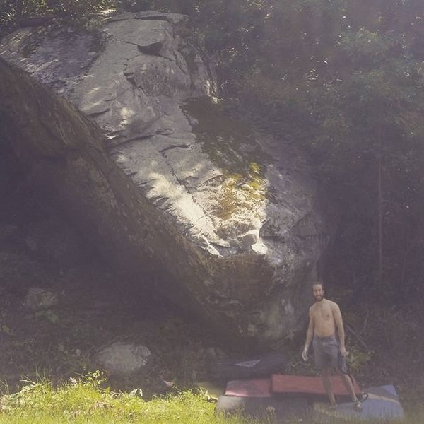 Dave Cohen next to the 12.2 boulder on the Blue Ridge Parkway
