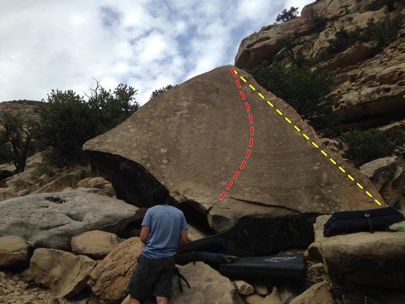 Arrowhead slab topo:<br> Red is Arrowhead Slab (V3-4)<br> Yellow is Arrowhead Arete (V0-1)