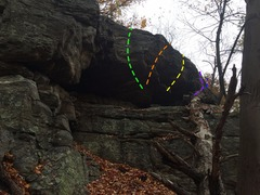 Rock Climbing Photo: Overhang with multiple problems, near the Throne B...