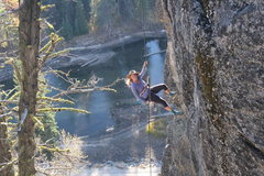 Rock Climbing Photo: Repelling off the side of The Thinking Spot