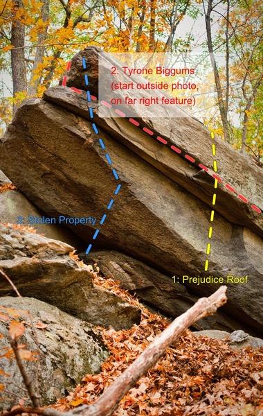 Rock Climbing Photo: The left side of Prejudice Rock