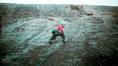 "Rock Climbing Photo: Running it out on easy slab. ""Now where is th..."